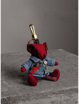 Burberry Thomas Bear Charm in Check Cashmere with Jean Jacket