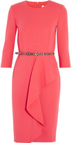 Max Mara Ruffled Stretch-wool Dress - Bubblegum