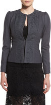 Elie Tahari Melody Lace-Panel Stretch-Knit Jacket, Carbon Melange
