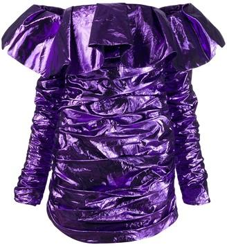 The Attico Off Shoulder Ruffle Dress
