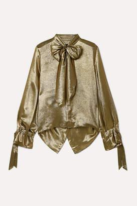Roland Mouret Royce Pussy-bow Cutout Metallic Silk-blend Blouse - Gold