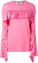MSGM ruffled longsleeved T-shirt - women - Cotton/Polyester - S