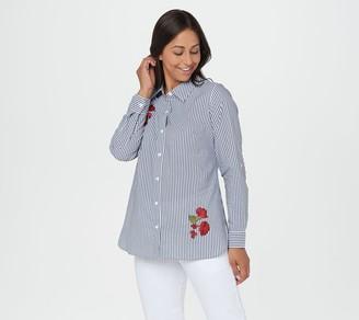 Denim & Co. Stretch Poplin Stripe Button-Up Shirt w/ Appliques