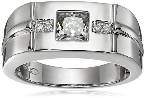VG Men's Platinum Plated Sterling Silver Moissanite Wedding Band Ring