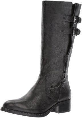 Gentle Souls by Kenneth Cole Women's Brian Mid-Calf Boot with Buckle Detail Angled Topline Leather Harness