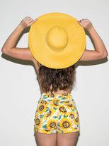 American Apparel Sunflower Print Stretch Bull Denim High-Waist Cuff Short