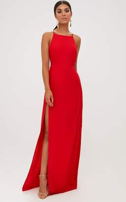 PrettyLittleThing Red Strappy Back Detail Chiffon Maxi Dress
