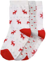 Joe Fresh Toddler Girls' 3 Pack Print Socks, Red (Size 3-5)