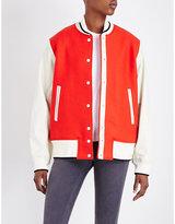 Rag & Bone Edith leather and wool varsity bomber jacket