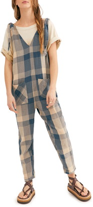 Free People Don't You Want This Check Jumpsuit