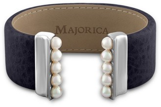 Majorica New Isla 5MM Organic Pearl & Leather Open Bangle/Navy