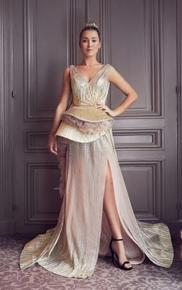 Gatti Nolli by Marwan Sleeveless Sculpted Peplum Slit Gown