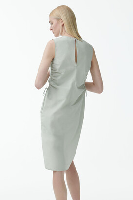 Cos Organic Cotton V-Neck Drawstring Dress