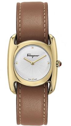 Salvatore Ferragamo Salvatore Feragamo Vara Leather Strap Watch, 28mm x 34mm