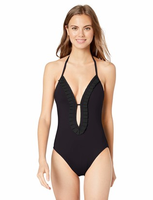 Kenneth Cole New York Women's Plunge Font Keyhole Halter One Piece Swimsuit
