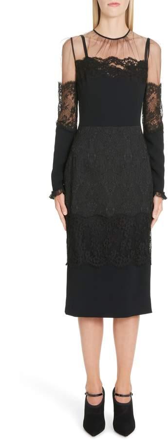Dolce & Gabbana Sheer Yoke Lace Sheath Dress