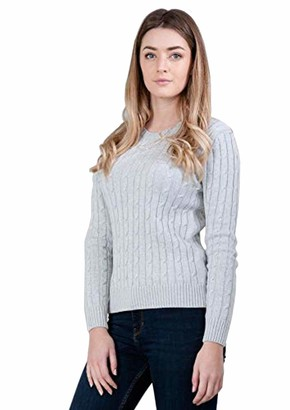 Paul James Knitwear Ladies Taylor Pure Cotton Cable Jumper | Womens Sweater Light Grey