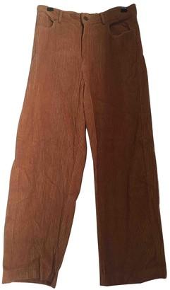 Polder Beige Velvet Trousers for Women
