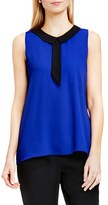 Vince Camuto Women's Contrast Collar Sleeveless Blouse