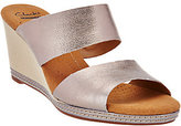 Clarks As Is Leather Double Band Slide Wedge Sandals - Helio Lily