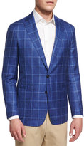 Peter Millar Newport Plaid Wool-Blend Sport Coat, Avio Blue