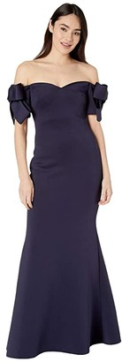 Badgley Mischka Off-the-Shoulder Scuba Gown with Bow Detail (Navy) Women's Clothing