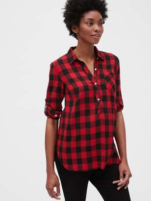 Gap Maternity Roll Sleeve Flannel Popover Shirt