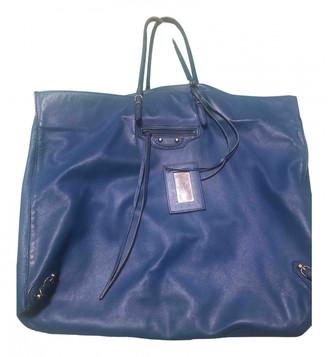 Balenciaga Weekender Blue Leather Handbags