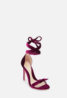 Missguided Burgundy Velvet Bow Barely There Heels