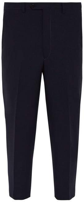 34e4a352 Cropped Tailored Wool Trousers - Mens - Navy