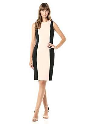 Calvin Klein Women's Sleeveless Sheath with Center Color Block Panel Dress