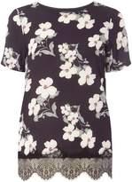 Black Floral Woven Front T-Shirt