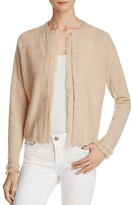 Minnie Rose Cashmere Fringe Trim Cardigan