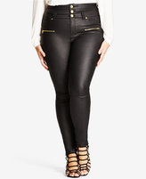 City Chic Trendy Plus Size Coated High-Waist Black Wash Skinny Jeans