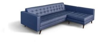 "Corrigan Studio Burciaga 86.7"" Wide Genuine Leather Reversible Sofa & Chaise Upholstery Color: Blue Prussia Genuine Leather"