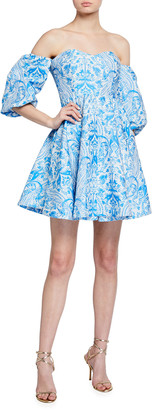 Mestiza New York Poco Off-the-Shoulder Puff-Sleeve Mini Dress