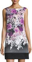 Adrianna Papell Floral-Print Shift Dress, Purple Multi