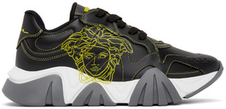 Versace Black and Yellow Pop Medusa Low-Top Sneakers