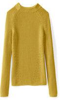 Classic Women's Cotton Shaker Funnelneck Sweater-Celestial Blue/Ivory Jacquard