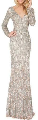 Mac Duggal Sequin V-Neck Long-Sleeve Column Gown