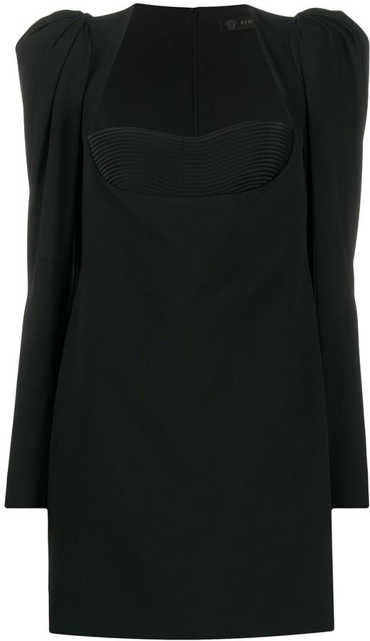 Versace structured shoulder bodice dress