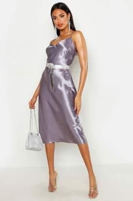 boohoo Satin Slip Midi Dress