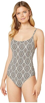 Tommy Bahama Desert Python Over-the-Shoulder One-Piece Maillot (Caffe) Women's Swimsuits One Piece
