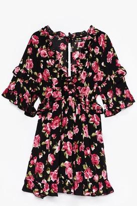 Nasty Gal Womens Grow for It Floral Mini Dress - Black - 6, Black