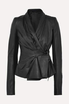 Rick Owens Pleated Leather Wrap Jacket - Black
