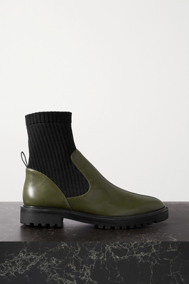 PORTE & PAIRE Leather And Ribbed-knit Ankle Boots - Forest green