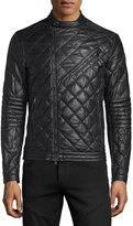 Moncler Debise Quilted Leather Moto Jacket, Black