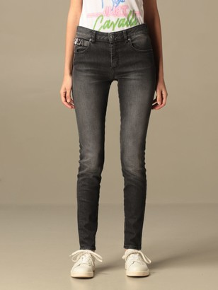 Just Cavalli Jeans In Used Denim With Logo