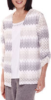 Alfred Dunner Acadia 3/4-Sleeve Textured Layered Top