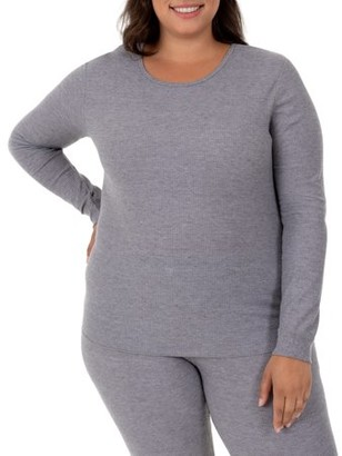 Fruit of the Loom Fit For Me By Fit for Me by Women's Plus Size Waffle Thermal Underwear Crew Top